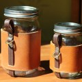 The chug a lug turns a mason jar into a beautiful leather wrapped mug
