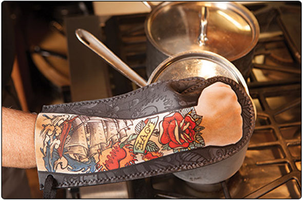 Be A Kitchen Badass With The Tattoo Oven Mitt  Foodiggity