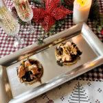 Crostini di polenta taragna, salmone e radicchio