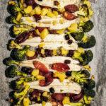 Sogliole con cipolle rosse in agrodolce, broccoli e olive taggiasche