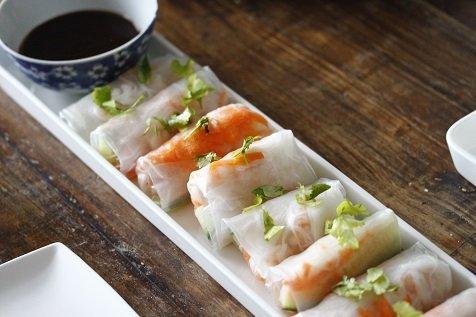 Verse loempiaatjes met garnalen en hoisin dip recept Foodblog Foodinista
