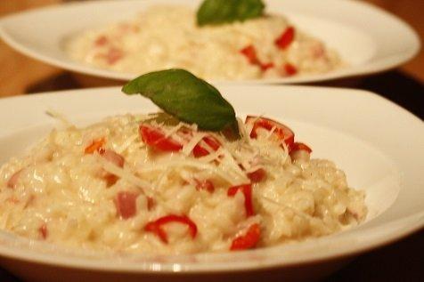Winterse risotto met spekjes en paprika