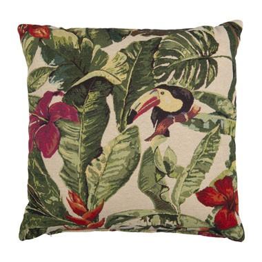 Zomers designkussen met bloemen en vogels Happy Musthaves maart shoptips Foodblog Foodinista