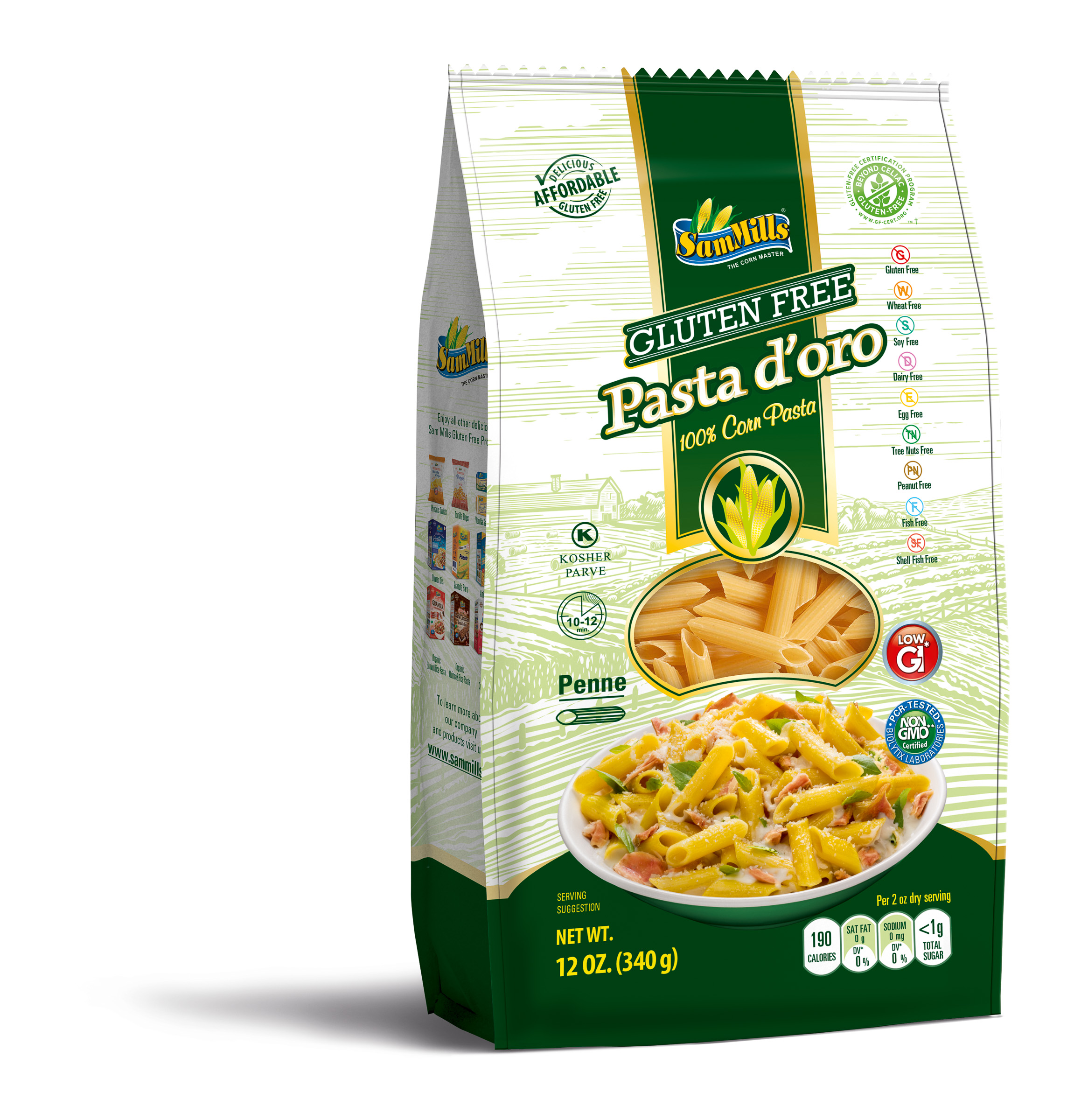 PASTA, PENNE CORN GLUTEN-FREE SHELF STABLE IMPORTED ROMANIA