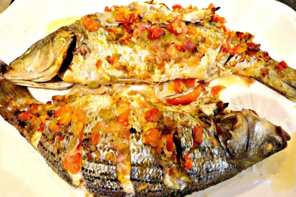 Grilled Sea Bass with Picante Salsa Stuffing