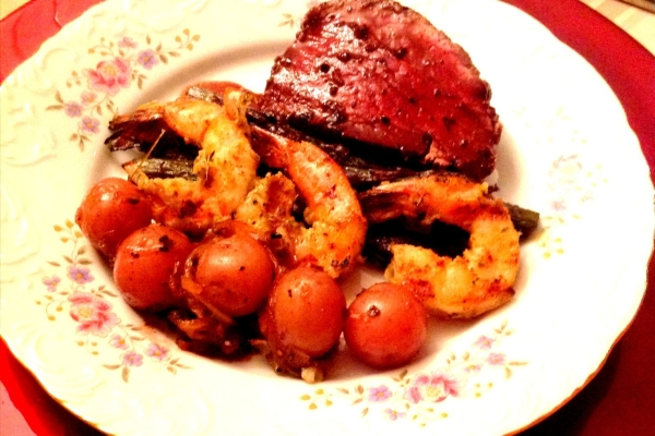 Beef Tenderloin, Purple Aspargus, Jerk Shrimp and Roasted Potatoes