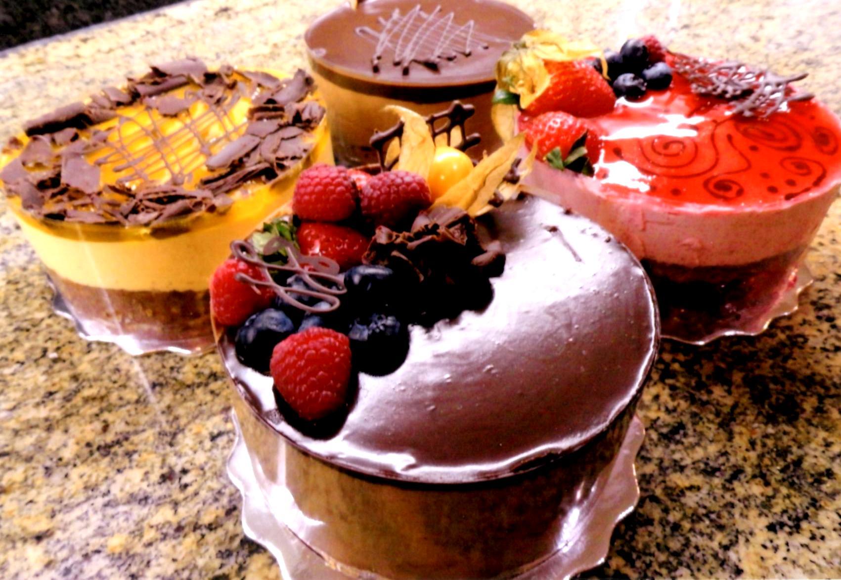 Mango, Chocolate, Raspberry, White and Dark Chocolate Mousse Cakes
