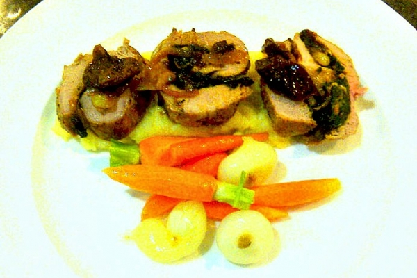 Spinach Pine Nuts Stuffed Pork Tenderloin Carrots and Cippolini Onions
