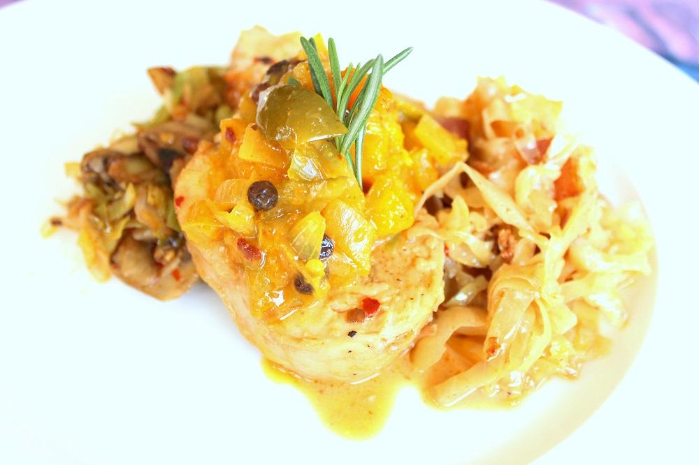 Turkey Roulade with Mango Chutney, Leek Stuffing and Stewed Cabbage.