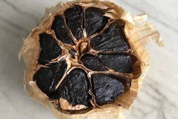 Closeup of black garlic