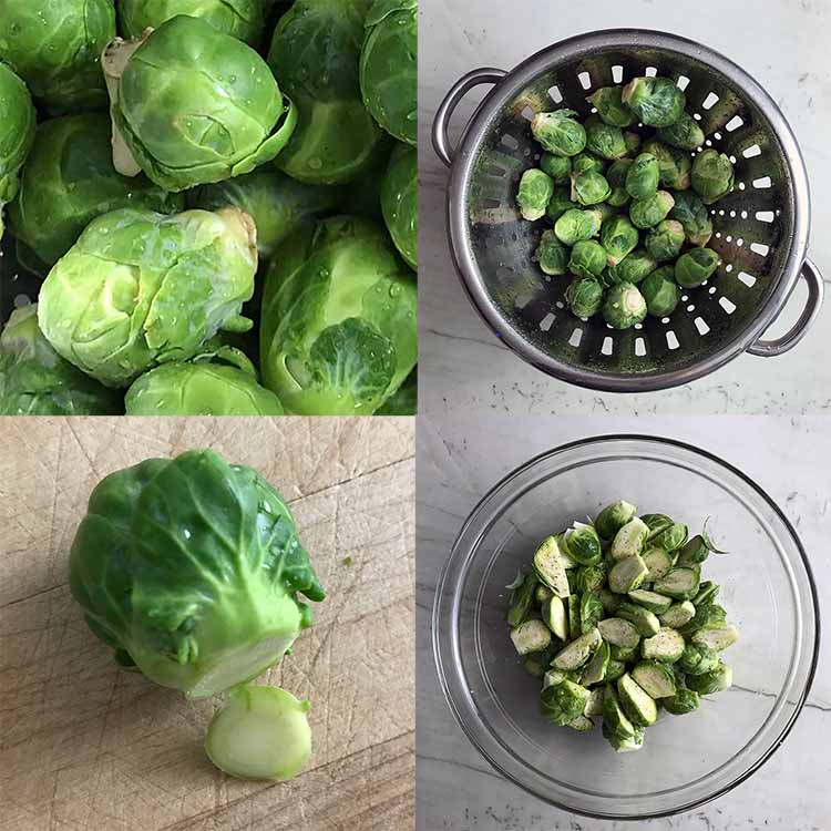 fresh brussels sprouts prep