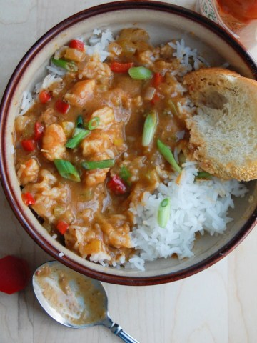 Shrimp Etoufee in a bowl with spoon.