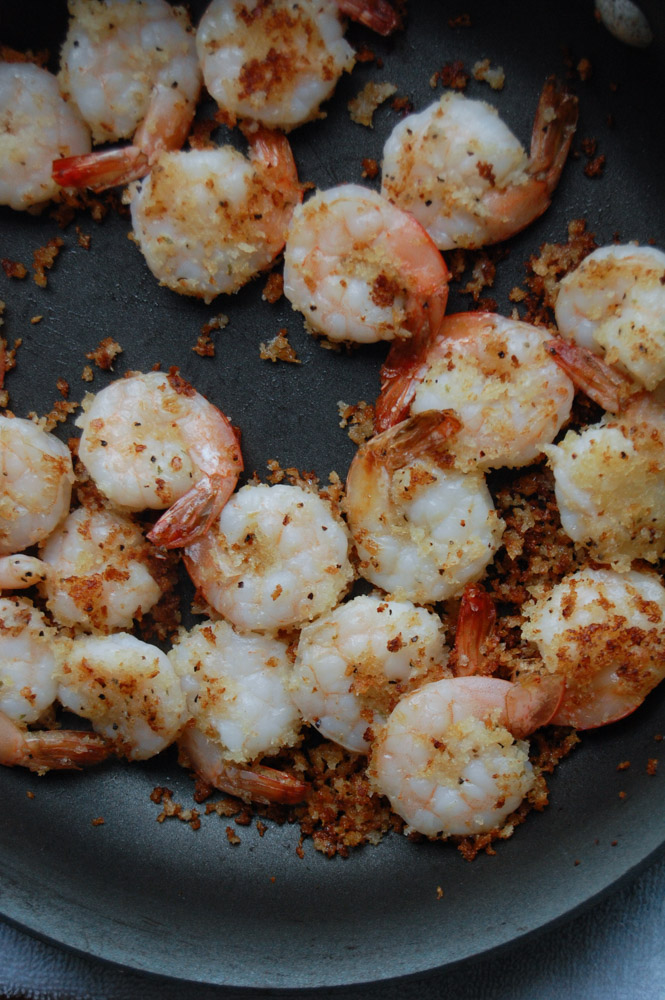 Breaded shrimp in a pan