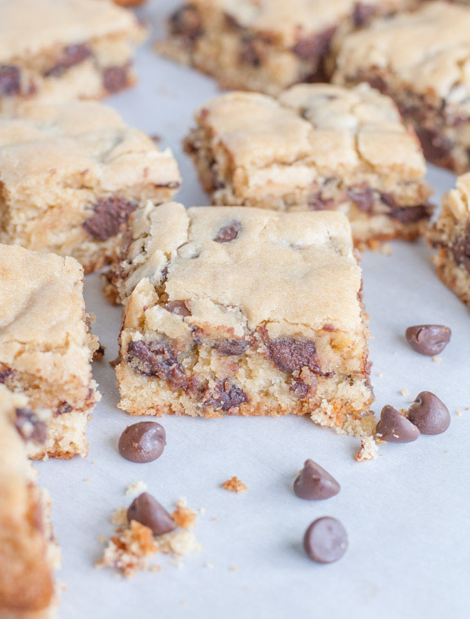 Congo chocolate chip bars on parchment paper