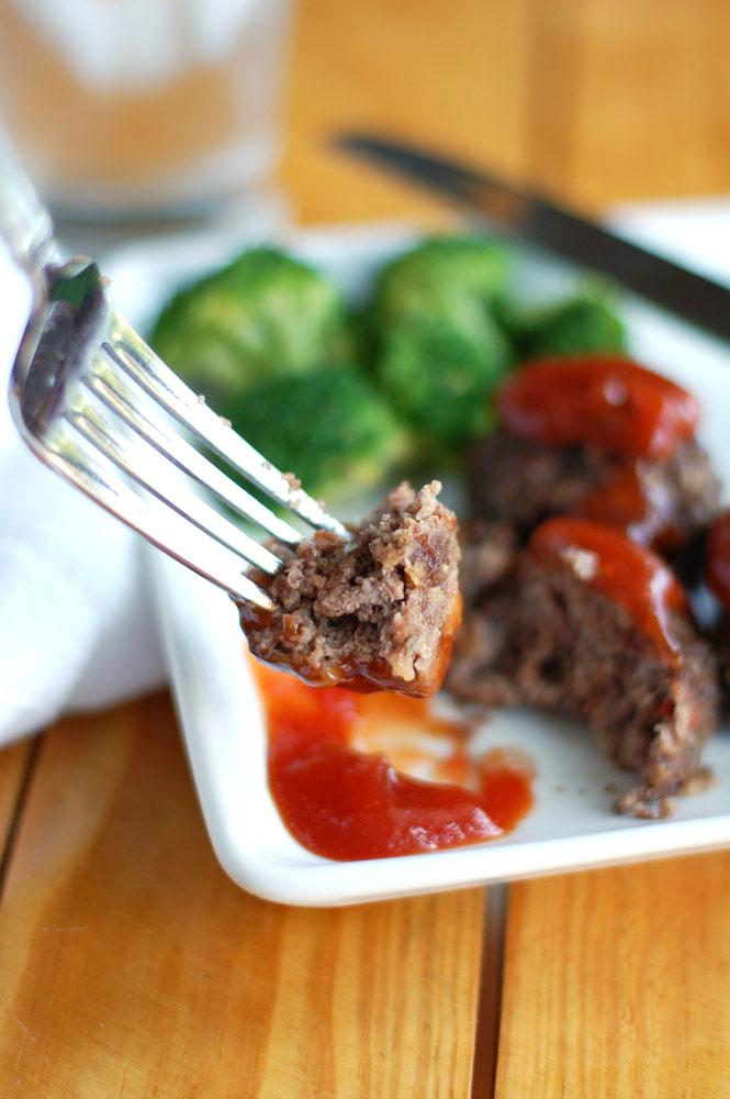 Meatloaf Meatballs on a fork