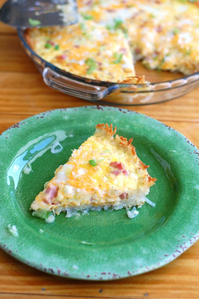 Piece of breakfast casserole on a plate