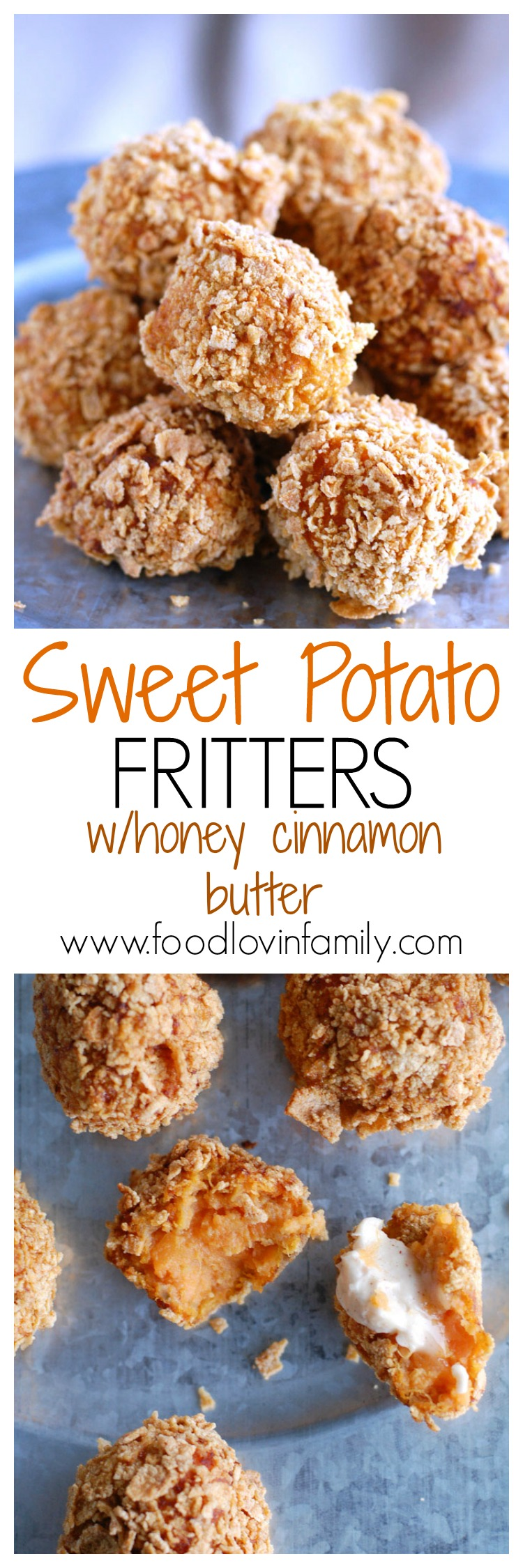 Enjoy the slight sweetness and crunch of these sweet potato fritters with honey cinnamon butter.