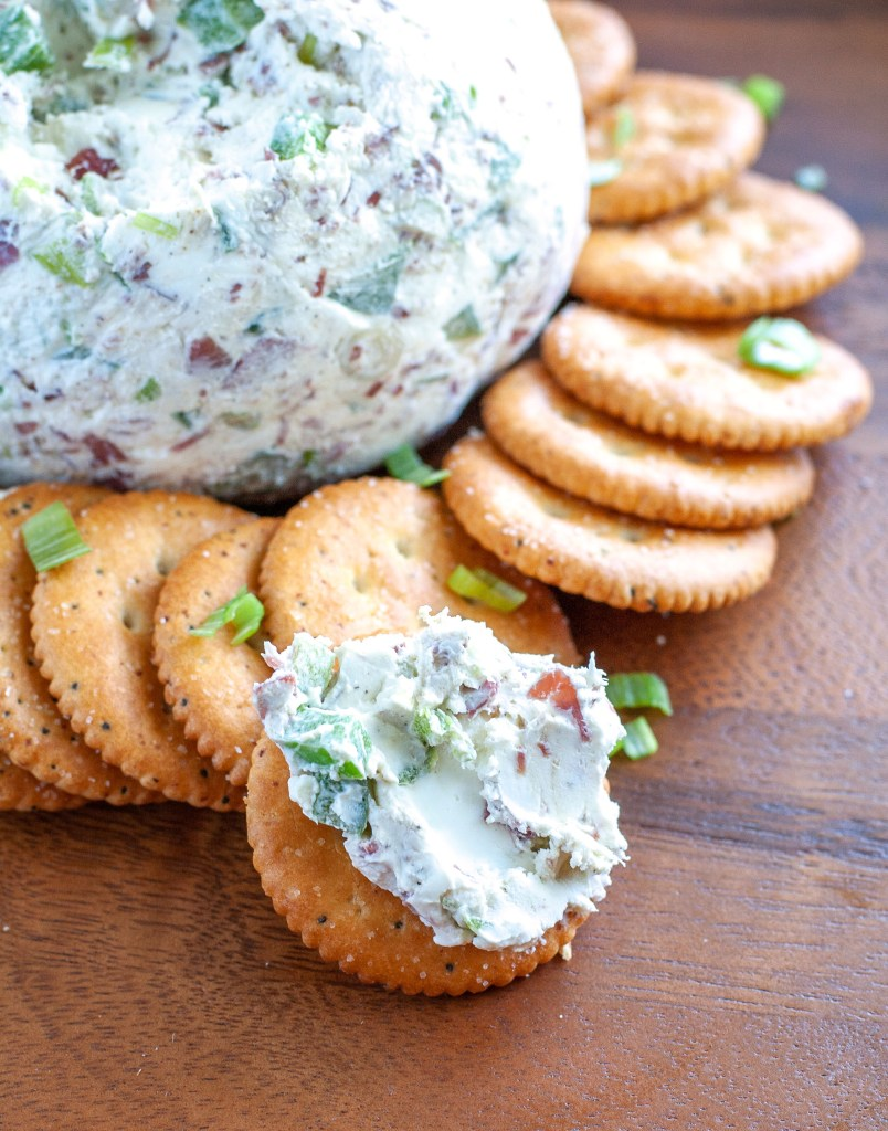 Chipped Beef Cheeseball spread on cracker.