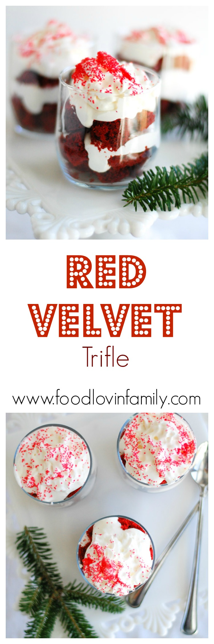 Red Velvet Trifle is made easy by using a cake mix, frozen whipped topping and cream cheese. A festive and delicious treat perfect for the holidays.