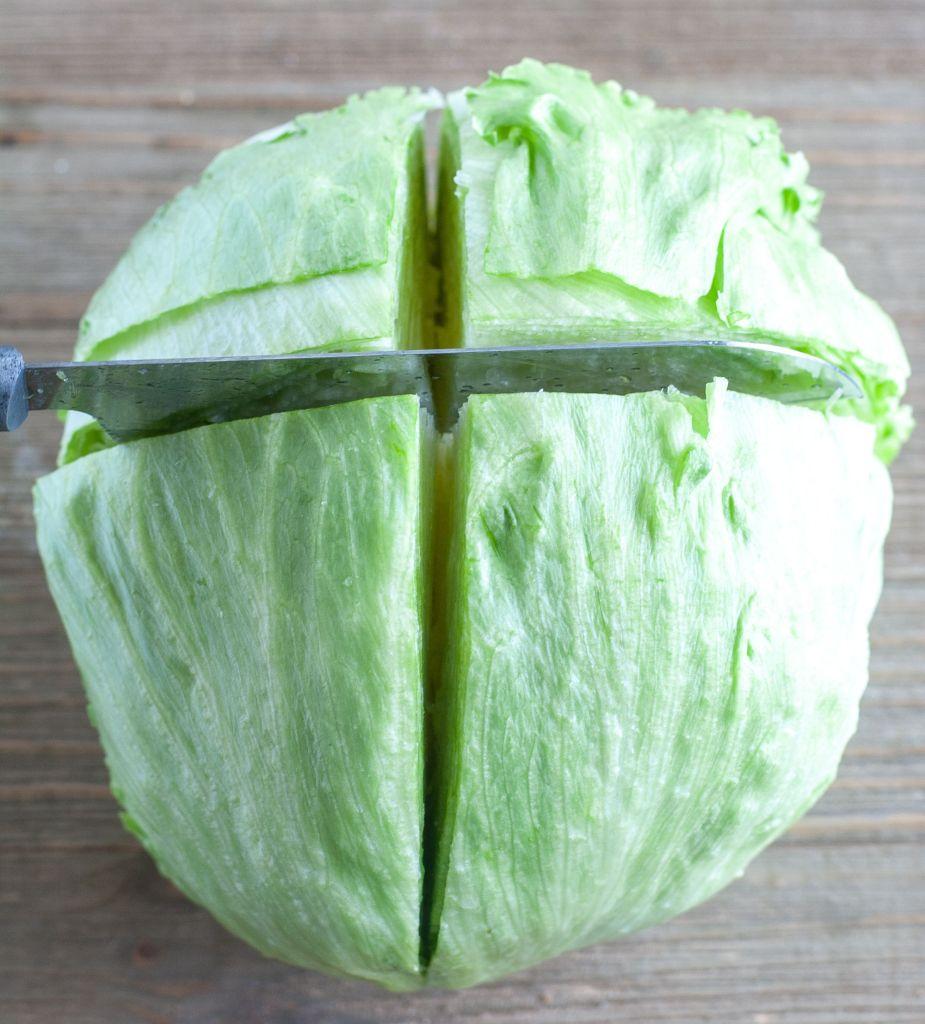Iceberg lettuce cut into wedges
