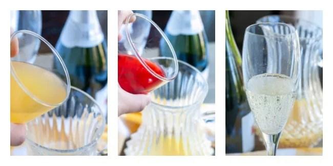 Pour Pineapple Juice, Pour Grenadine, Pour sparkling wine