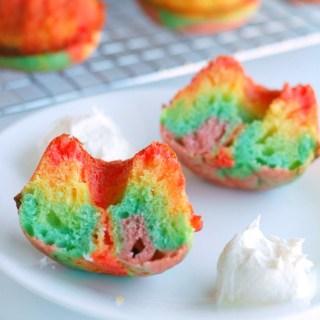 Rainbow Mini Bundt Cake with Marshmallow Buttercream Clouds