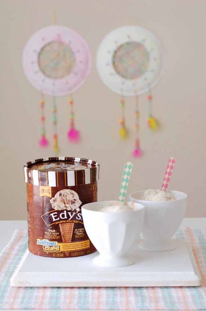 Ice Cream with Dream Catchers hanging in the background