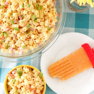 Hawaiian pasta salad and Sweet Tea Peach Popsicles