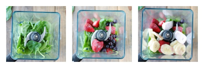 spinach, berries and banana in a blender