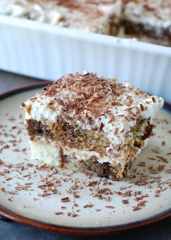 easy pound cake tiramisu on a plate