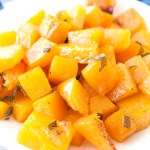 Plate with roasted butternut squash.
