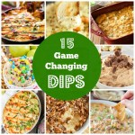 Collage of appetizer dips.