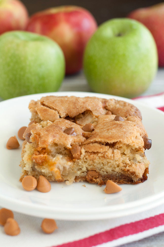 Fresh apple cake with butterscotch chips is a cross between a cake and a bar. It is filled with fresh apples, butterscotch chips and cinnamon. This cake is delicious and moist, the perfect fall treat.