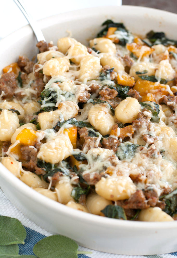 Full of flavor and less than 30 minutes to make, this gnocchi with squash, kale and sausage will have you licking your plate clean.