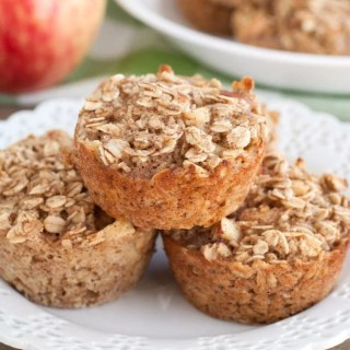 Apple Cinnamon Oatmeal Cups stacked on plate