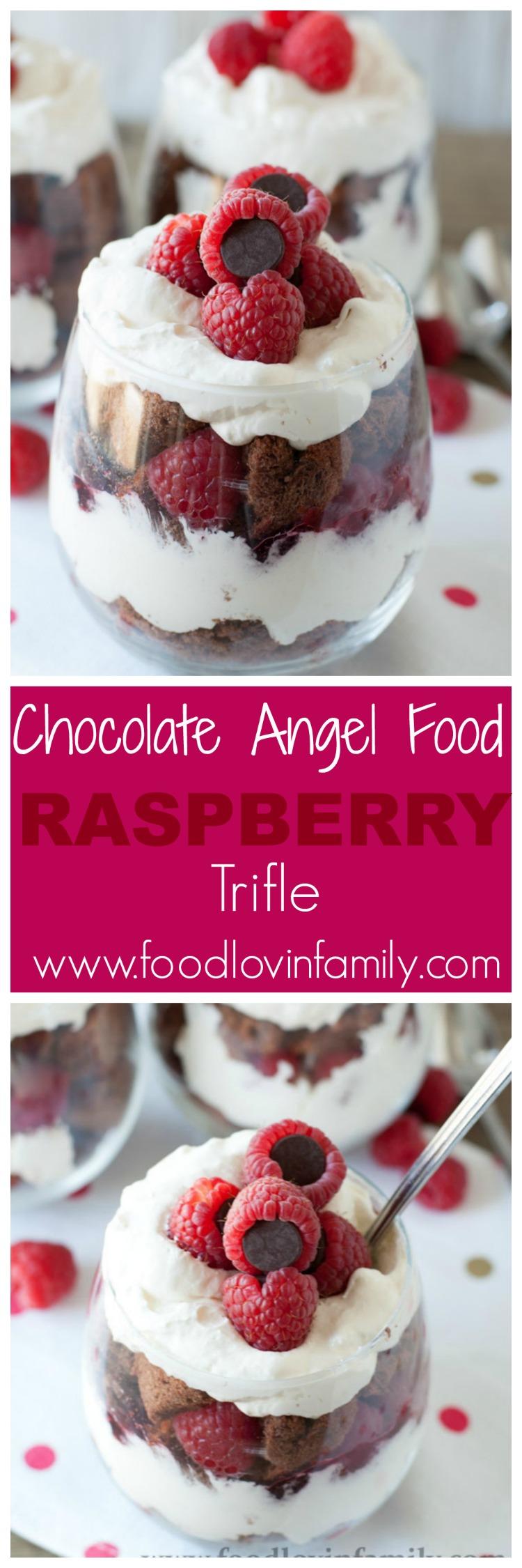 Easy Chocolate Angel Food Cake + Raspberry Trifle - Food Lovin Family