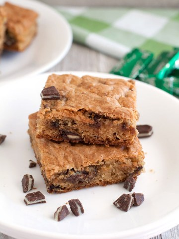 Andes cookie squares stacked on a plate.