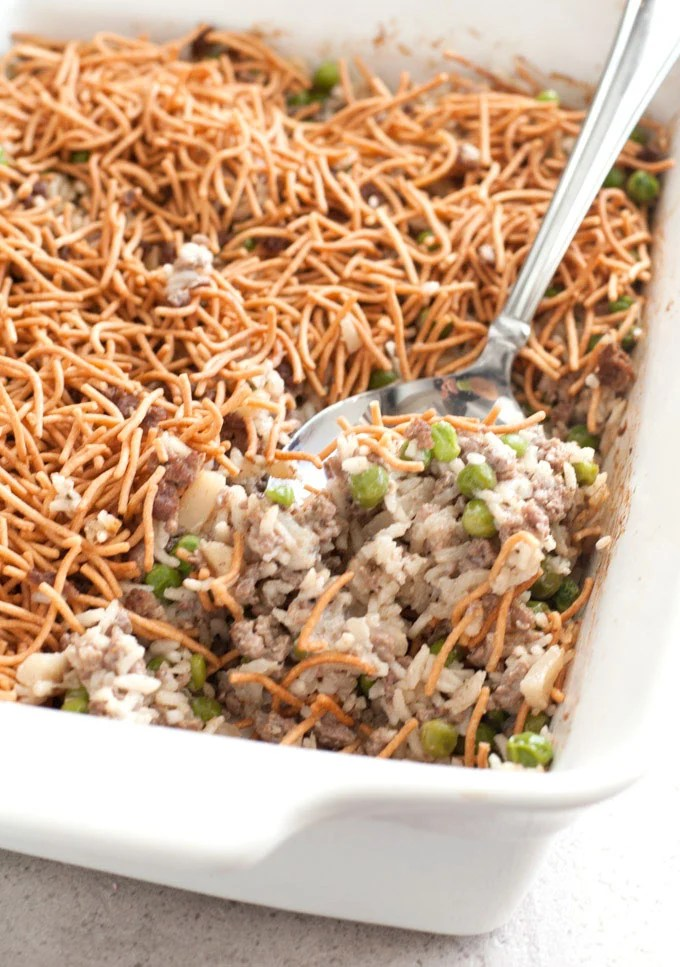 Asian Beef and Rice Casserole with crispy chow mein noodles
