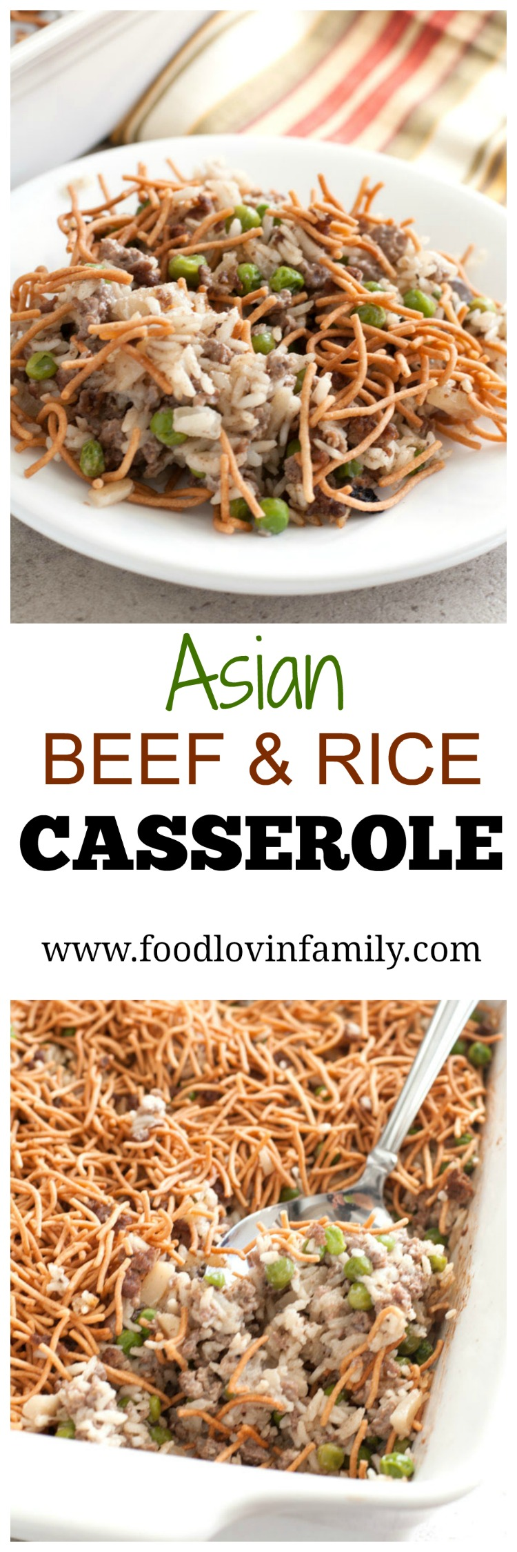 Asian beef and rice casserole is filled with veggies, beef and rice topped with crispy chow mein noodles. PIN