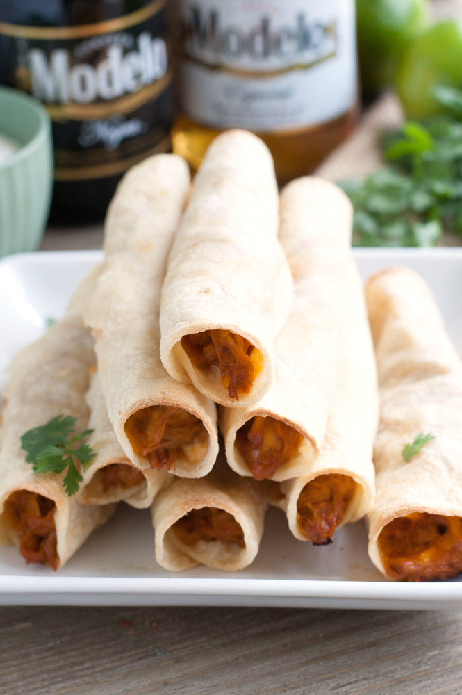 BBQ taquitos are a tasty appetizer filled with flavorful bbq pork and cheese, all wrapped up in a tortilla.
