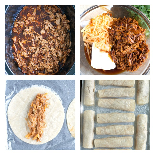 BBQ in crockpot, bowl with BBQ, Cheese, Cream Cheese, Mixture rolled in a tortilla