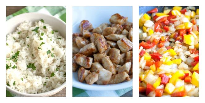 Chicken Fajita Rice Bowl - fajita seasoned chicken mixed with peppers, onions, RO*TEL and cilantro lime rice. Steps