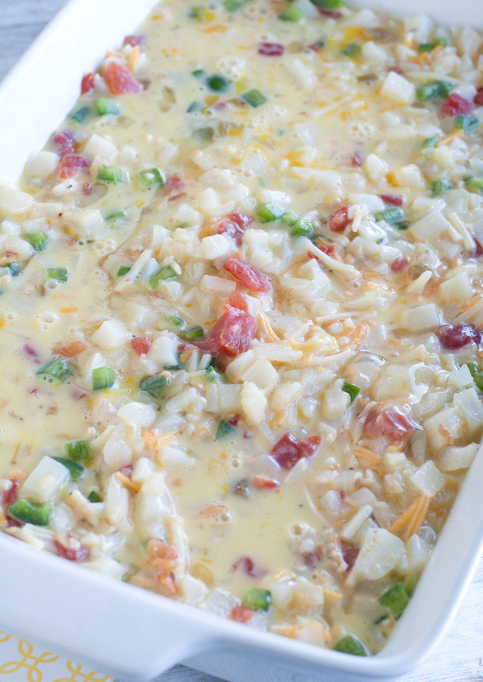 Southwestern Breakfast Casserole is a bold spin on breakfast. Packed full of flavor, made with RO*TEL, eggs, potatoes, green pepper and cheese.