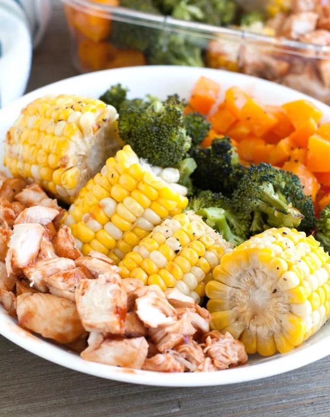 BBQ chicken meal prep bowls