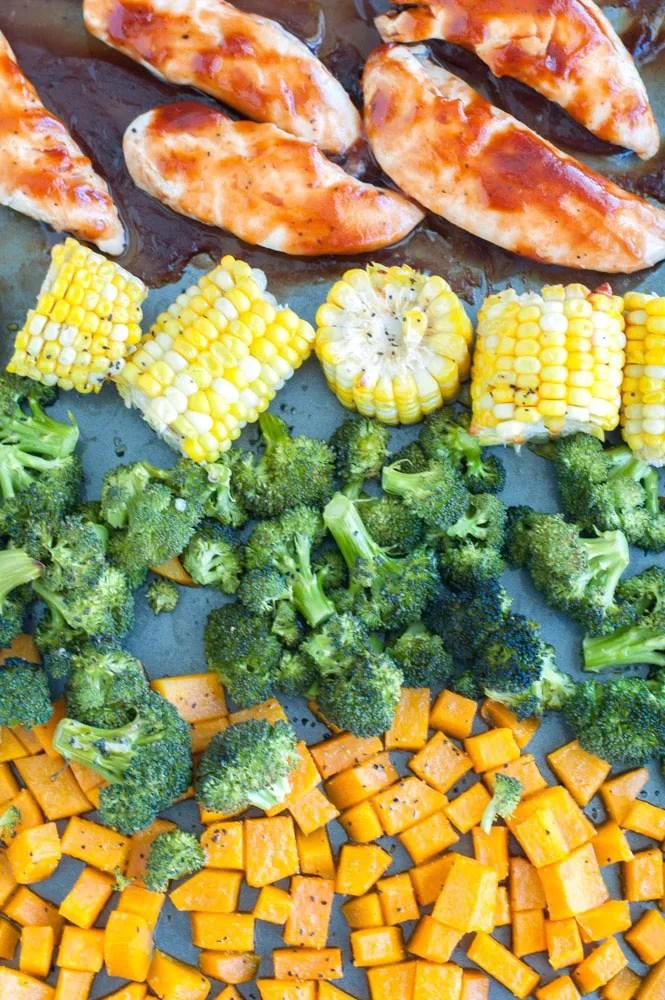 BBQ chicken meal prep bowls sheet pan