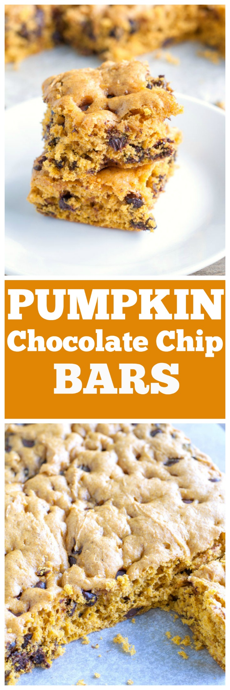 Pumpkin Yellow Cake Bars With Chocolate Chips
