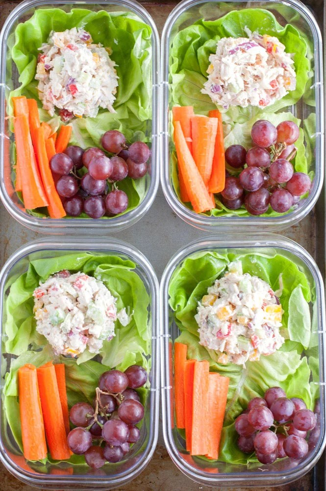 chicken salad meal prep in four containers