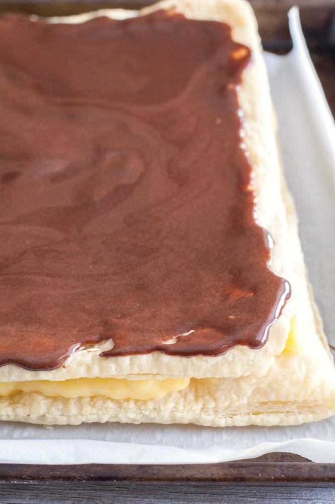 eclair cake on a sheet pan