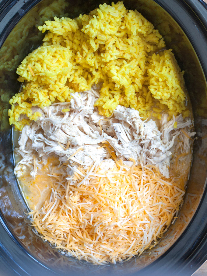 Chicken, rice and cheese in slow cooker