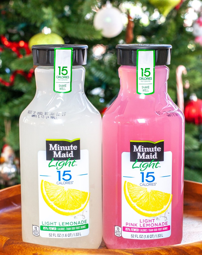 Bottle of Minute Maid lemonade and pink lemonade.